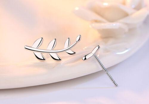 Fashion Jewellery 925 Sterling silver Punk Tree leaves Asymmetric Stud Earrings