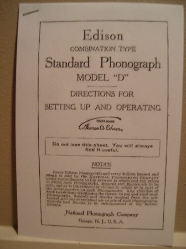 """Instructions Booklet for Edison Phonograph Model /""""D/"""""""