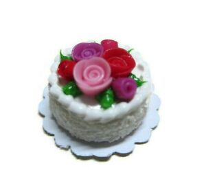 2 White Chocolate  Round Cake Rose Top Dollhouse Miniatures Food  Valentine Day