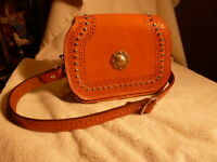 Vintage Leather Hand Tooled Western Style Purse (Silver Rose Saddles Shell, WY )