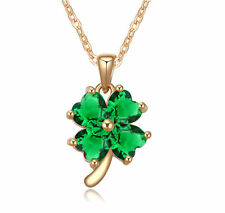 18K Gold GP Green Emerald Clover Swarovski Crystals Pendant Chain Necklace Lucky
