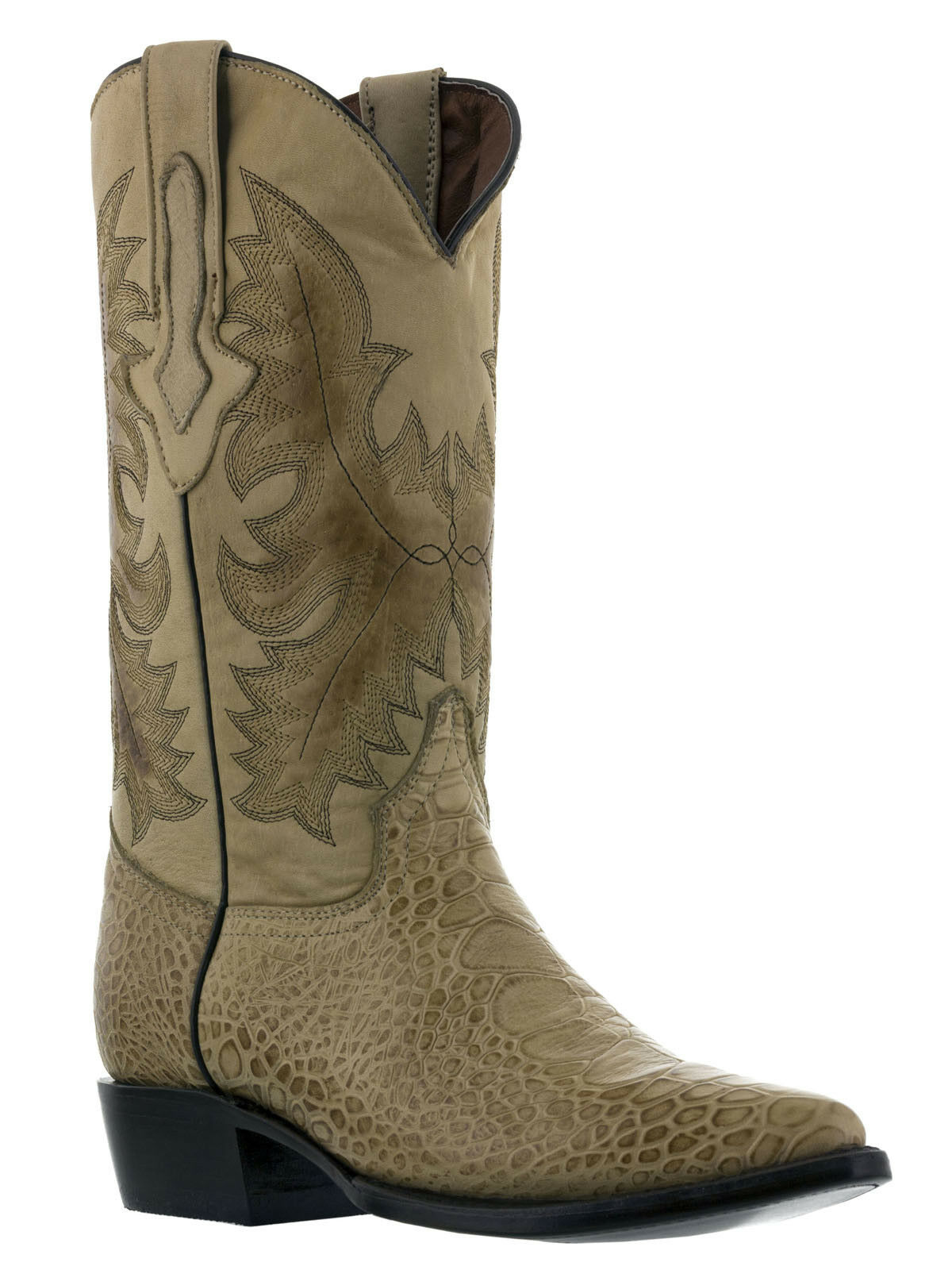 Mens Beige Crocodile Alligator Belly Sea Turtle Print Rodeo Cowboy Leather Stiefel