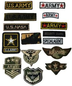 Iron on Embroidered Patch Sew on Badge Fancy Dress Clothes Full Military Set