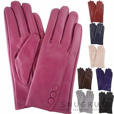 cd467ed187d7 LADIES BUTTER SOFT REAL LEATHER GLOVES WITH 3 BUTTON DESIGN