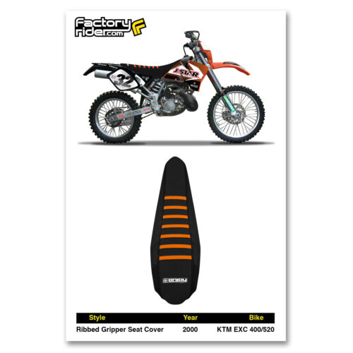 2000 KTM EXC 400-520 ALL BLACK WITH ORANGE RIBBED SEAT COVER JDR by Enjoy MFG