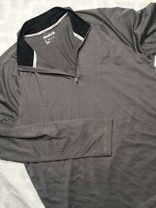 Reebok-Men-039-s-gris-manches-longues-1-4-zip-Pull-Athletique-Haut-Taille-L