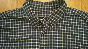 Vintage-Eddie-Bauer-Plaid-Flannel-Navy-Long-Sleeve-Shirt-Mens-XL