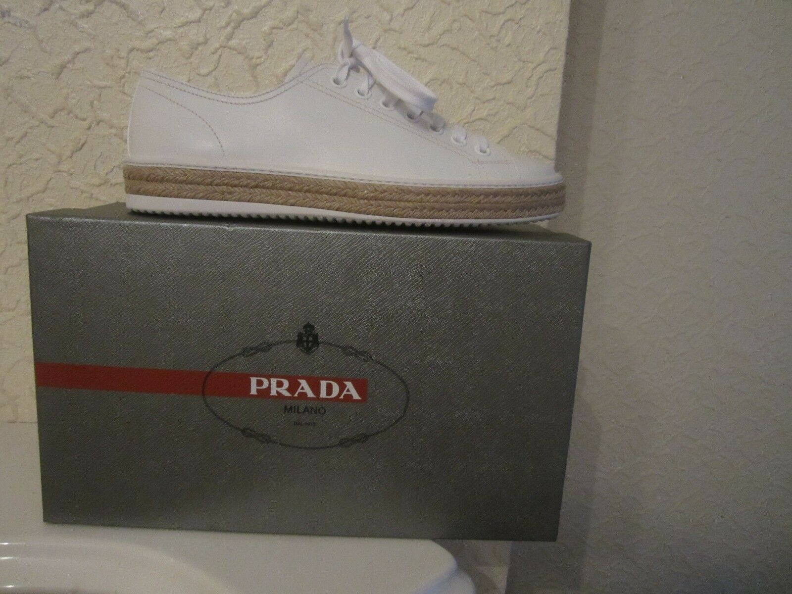 Prada Linea Rossa White Leather Espadrille Men's Sneakers