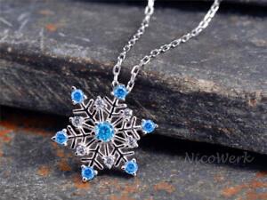 Silberkette-mit-Anhaenger-Schneeflocke-Blau-Mit-stein-Zirkonia-Glaenzend