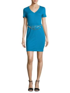 Versace Jeans Bright Teal Blau V-Neck Dress, Größe 46 (IT) 10 (US) NWT