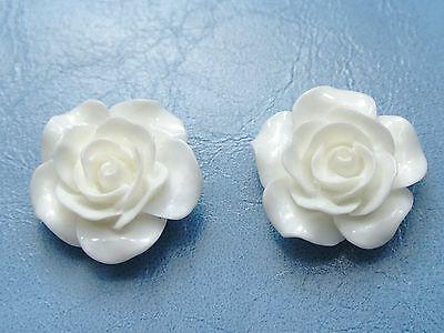 """3//4/"""" 20 Ivory Cabochons Rose Flower Flatback Resin 20mm For Craft DIY"""
