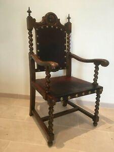 Spanish-Revival-Antique-19th-Century-Barley-Twist-Throne-chair