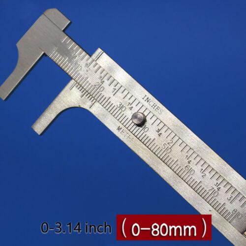 80mm  Copper CALIPER Sliding Vernier Ruler Gauge Gem Tool Bead Measuring Inch