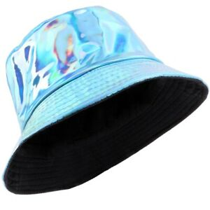 30c10fb03 Details about BLUE HOLOGRAPHIC BUCKET HAT Shiny Turquoise Aqua Party  Festival Rave Fancy Dress