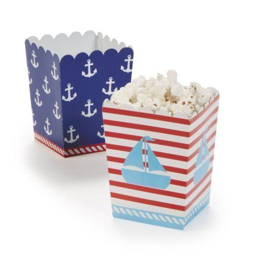 12 Ahoy Matey POPCORN BOX Candy Buffet Favor 1st Sailor Birthday Party Nautical