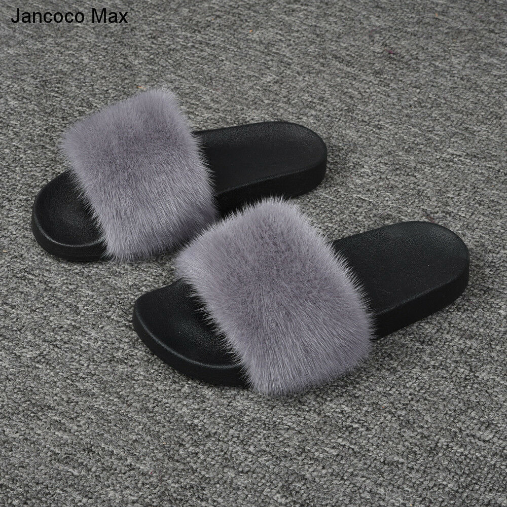 2018 Real Mink Fur Sliders Summer Fashion Comfy Flip Flop Sandals Shoes 56027A