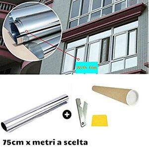 76cm argento specchio isolamento pellicola finestre film stickers adesivo vetri ebay for Pellicola a specchio per vetri
