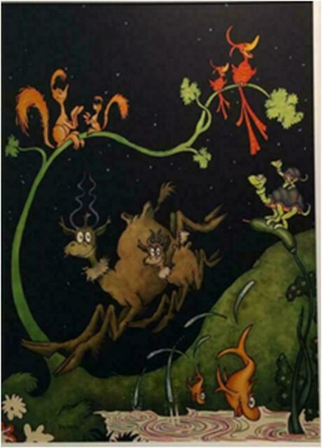 "Dr. Seuss - Throdor Geisel     ""After Dark in the Park""    Canvas"