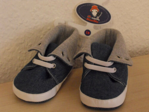 MAXIMO Babyschuhe 18 Schuhe Turnschuhe Chucks Sneaker Canvas JEANS blau grau NEU