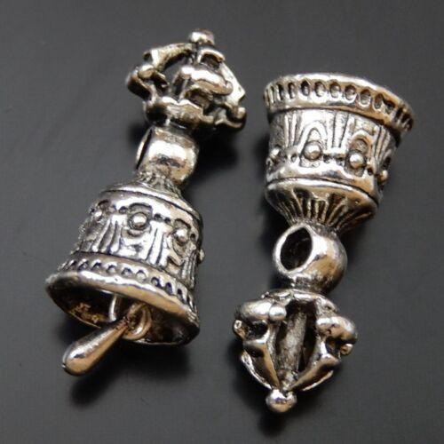 Weinlese Silber Hand Glocke Form Legierung Schmuck Kunst Anhänger Charme 20stk