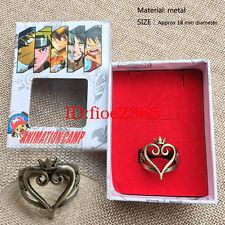 Anime Kingdom Hearts Sora Heart Logo Finger Ring Meatl Hollow Cosplay Jewelry 4A