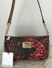 NWT Calvin Klein black watermelon red leather PVC chain purse bag hobo tote $118