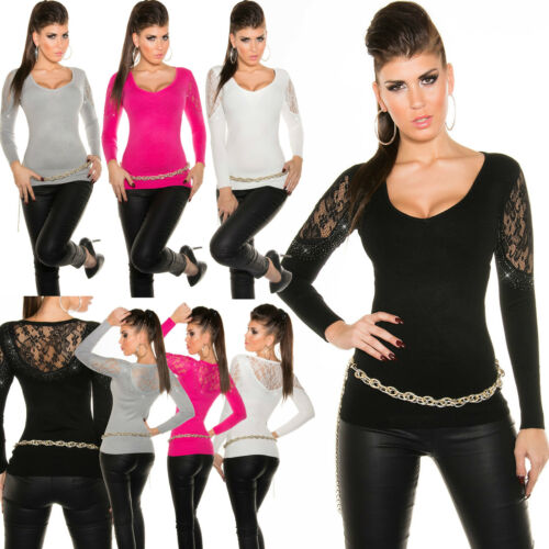 Top Womens Jumper Ladies Pullover Party Lace Clubbing Sweater Size 6 8 10 12