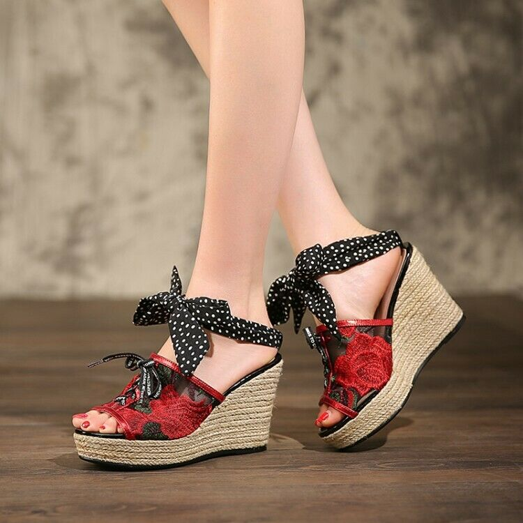 Women Sandals Slippers Peep Toe Floral Embroidery Floral Lace up Platform Wedge