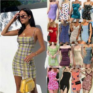 Womens-Holiday-Mini-Dress-Ladies-Summer-Bodycon-Backless-Slip-Dress-Party-Beach