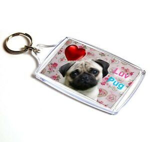 Pug Keyring  Luv Pug Dog Key Ring Fawn Pug Gift Xmas Gift Mothers Day Gift