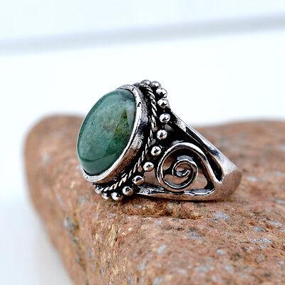 Tibetan Silver Round Emerald Ruby Jade Women Ring Women Ring Gift Size 7