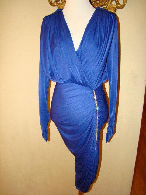 VINTAGE COBALT blueE LOW CUT RUCHED DIAMOND ACCENT DRESS SIZE M
