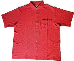 Mens-Duluth-Trading-Red-Shirt-Button-Up-Short-Sleeve-Size-XL-Pocket-Cotton-EUC