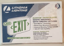 Lithonia Lighting Quantum Led Emergency Exit Sign With Battery White Green Letters
