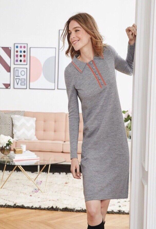 New Boden Jemima grau Orange Wool Knitted Sweater Dress R US 16R