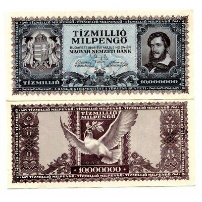 HUNGARY TIZMILLIO 10 MILLION 10,000,000 10000000 MILPENGO 1946 VF+ P-129