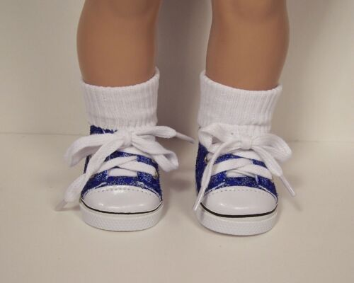 """DK BLUE Faux Sequin Tennis Sneakers Doll Shoes For 18/"""" American Girl Debs"""