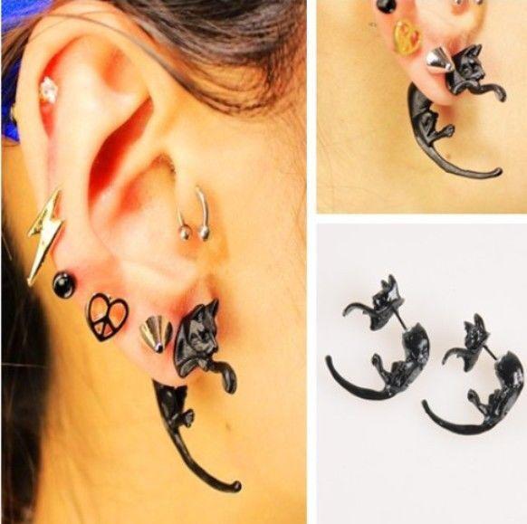 2 pcs Chic Long Tail Leopard Cat Puncture Ear Stud Womens Mens Unisex Earrings J