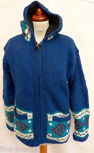 4949f63cddb1 Gr. S Jacke Strickjacke Hippie Goa Stil Wolle Zipfelkapuze blau ...
