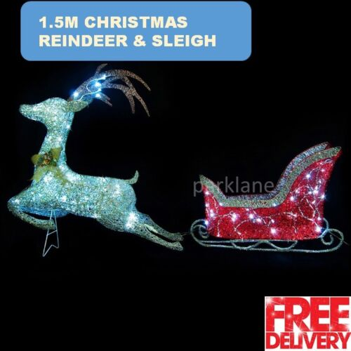 1.5m Reindeer Sleigh Outdoor Christmas Decoration Display 75 LED ...
