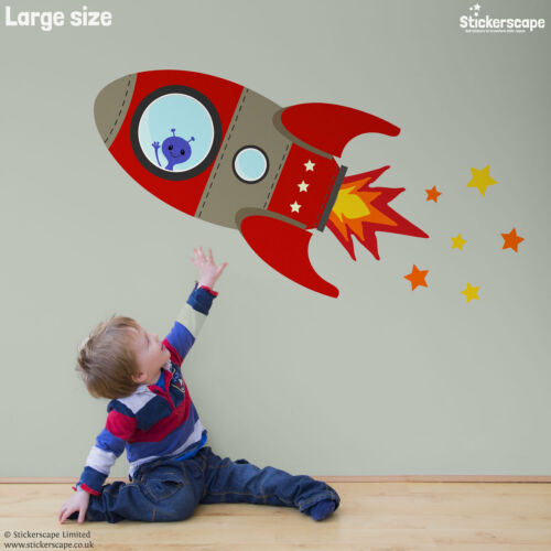 Flying rocket wall stickerSpace themed wall stickers by Stickerscape