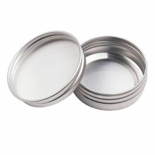 12 Screw Top Round Aluminum Tin Can Storage Jars Containers Box Clear Window Lid