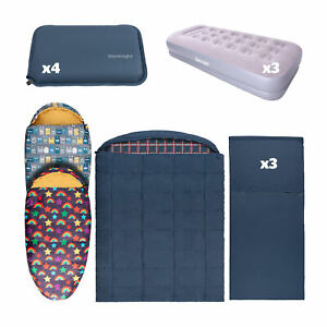 Silentnight Camping Bundle Family Pack Sleeping Bags Kids Adults Airbed Pillow