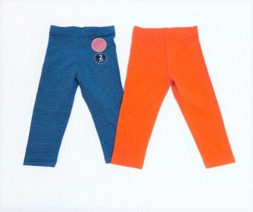 Lot de deux Legging Filles Bleu /& Orange Tailles De 12 Mois à 6 ans