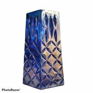 """Blue Iridescent Glass Hexagon Vase  8""""H x 4""""W  A Touch of Glam from FTD"""
