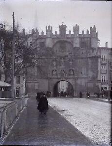 ESPAGNE-Burgos-Puerta-de-Santa-Maria-c1900-NEGATIF-Photo-Stereo-Plaque-Verre