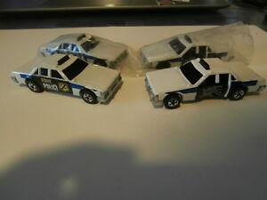 Lot De 4 Voitures Miniatures Police D'etat - Metal.mattel-crack Up Hot Wheels1983.