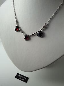 Jugendstil Collier Granat Halskette Silber Unikat Schmuck NEU