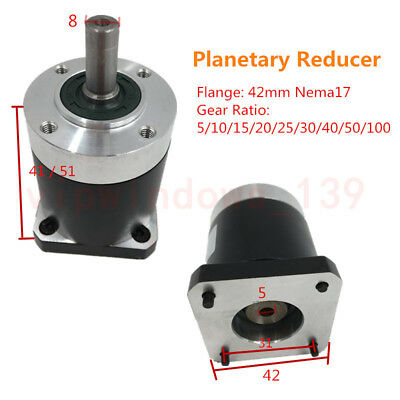 Geared 40:1 Nema17 Planetary Reducer Gearbox L51mm for 42mm Stepper Motor