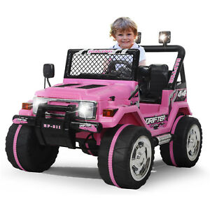 Kids-Ride-on-Toys-12v-Electric-Cars-Battery-Wheels-Jeep-Pink-Gift-W-Safty-belt